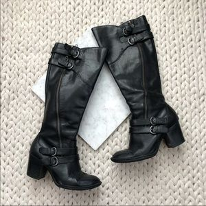 Born Black Leather Buckle Heeled Riding Boots